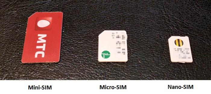 Сравнение размеров сим-карт