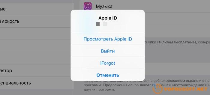 Выход из Apple ID