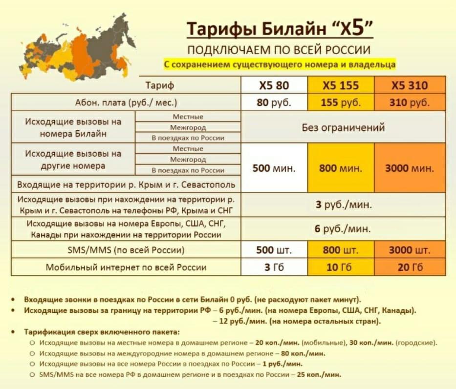 Подробное описание тарифа X5 80 от Билайн